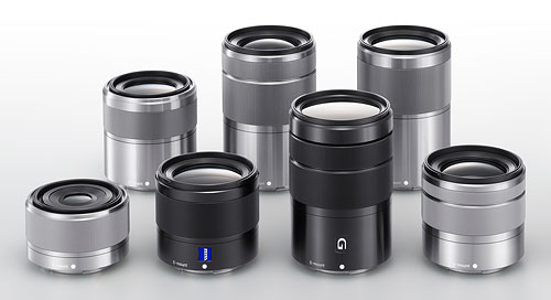 Sony's E-mount lenses for NEX-series cameras. Photo provided by Sony.