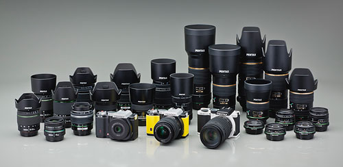 Pentax's K-01 mirrorless accepts all existing K-mount lenses. Photo provided by Pentax.