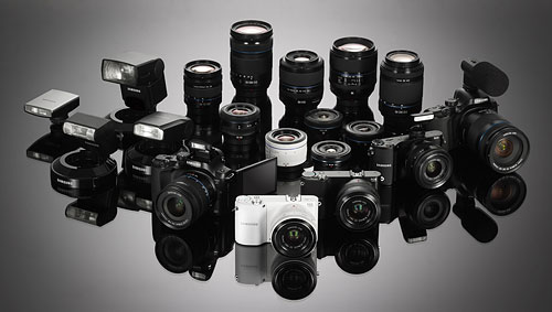 Samsung's NX-series camera family. Photo provided by Samsung.