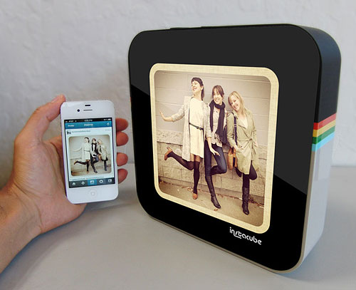 Instagram images are transferred wirelessly to the Instacube. Photo provided by Design to Matter / Kickstarter.