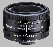 image of the Nikon 50mm f/1.8D AF Nikkor lens