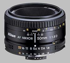 image of the Nikon 50mm f/1.8D AF Nikkor lens