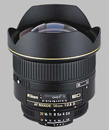 image of the Nikon 14mm f/2.8D ED AF Nikkor lens