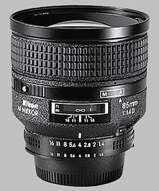 image of the Nikon 85mm f/1.4D AF Nikkor lens