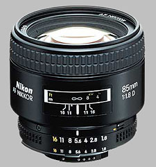 image of the Nikon 85mm f/1.8D AF Nikkor lens