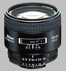 image of the Nikon 85mm f/1.8D AF Nikkor lens