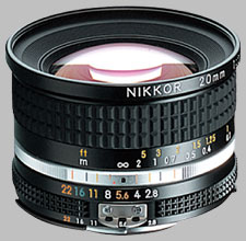 image of the Nikon 20mm f/2.8 AIS Nikkor lens