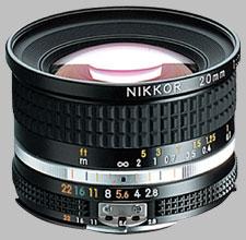 image of the Nikon 20mm f/2.8 AIS Nikkor lens