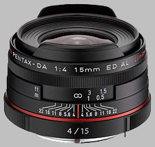 image of the Pentax 15mm f/4 ED AL Limited HD DA lens