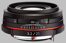image of the Pentax 21mm f/3.2 AL Limited HD DA lens