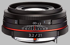 image of the Pentax 21mm f/3.2 AL Limited HD DA lens