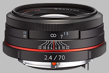 image of the Pentax 70mm f/2.4 Limited HD DA lens