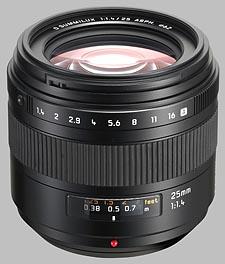 image of the Panasonic 25mm f/1.4 ASPH LEICA D SUMMILUX lens