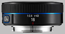 image of the Samsung 16mm f/2.4 NX lens
