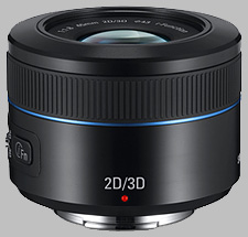 image of the Samsung 45mm f/1.8 NX 2D/3D lens