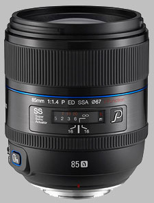 image of the Samsung 85mm f/1.4 ED SSA NX lens